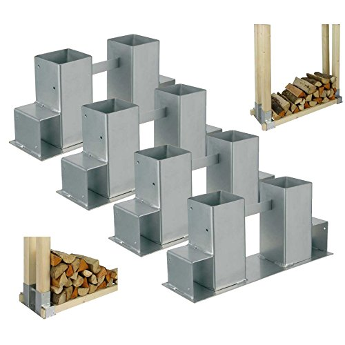 4er Set Kaminholz Stapelhilfe Brennholz Holz Stapelhalter stapeln Gestell Lager Regal