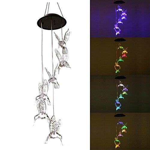 Deerbird Energía Solar Linterna LED Reemplazo Luces Color Transparente Colibríes Viento carillón Más grande Familia Jardinería Decoración