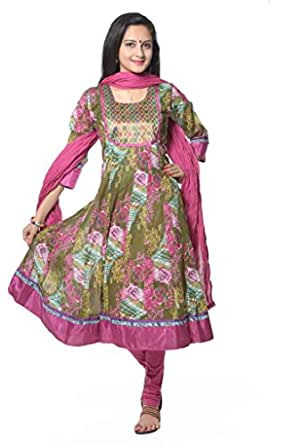 Vastra Vinod Womens Cotton Anarkali Unstitched Dress Material (Vtas43-4Xl _Green)