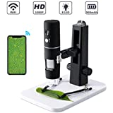 Microscopio digitale, Microscopio USB ROTEK WiFi Fotocamera 1000x Zoom 1080P HD con supporto professionale, Mini microscopio tascabile con 8 LED per iPhone IOS Telefono Android ipad Windows, MAC