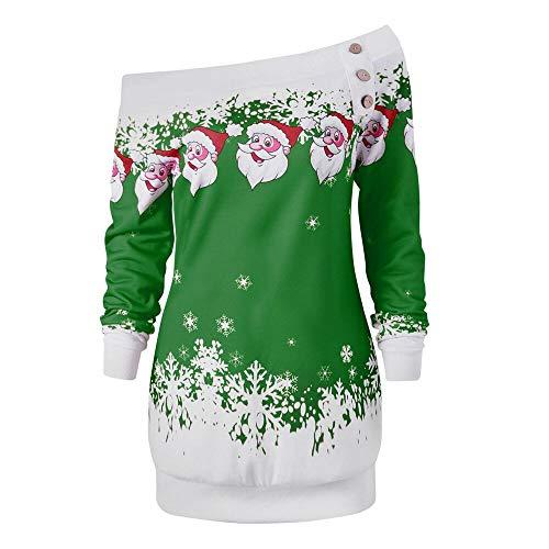 Riou Weihnachtskleid Pulloverkleid Damen Herbst Langarm Schneeflock Lang Gedruck Knielang Hoodie Sweatshirt Blouse Kleider (XL, Grün C)