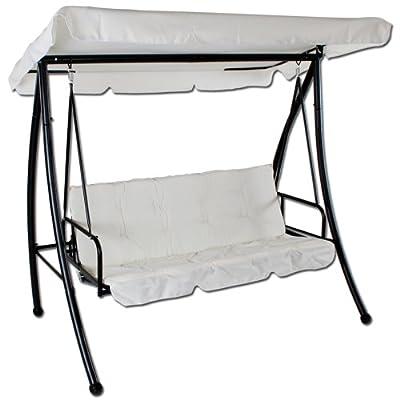 Luxus Hollywoodschaukel Gartenschaukel 3-Sitzer mit Bettfunktion creme - weiß