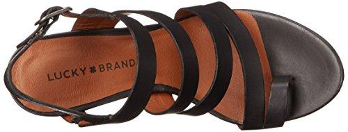 Lucky Brand Fairfina Cuir Sandales Compensés Black