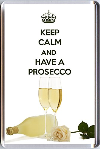 KEEP CALM and HAVE A PROSECCO Fridge Magnet printed on an image of glasses of Prosecco and a bottle - an original Birthday Gift Idea for less than the cost of a card! by Yummy Grandmummy