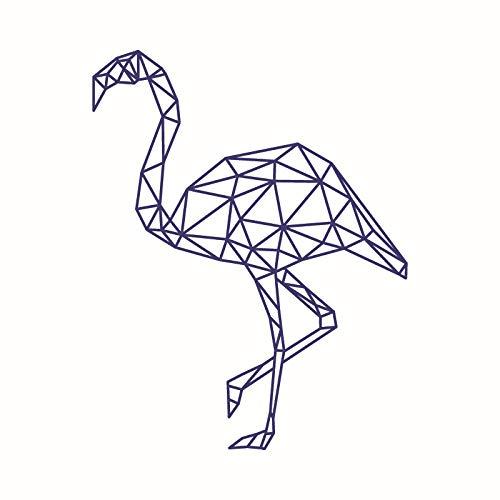 Nordic Geometrische Flamingo Aufkleber Dekoration Wohnzimmer Schlafzimmer Wandaufkleber Wasserdichte Aufkleber Lila 57 * 45 Cm