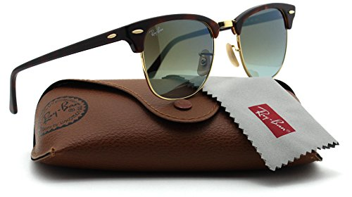 Ray-Ban RB3016 Clubmaster Flash Gradient Series Unisex Sunglasses (Red Havana Frame/Green Mirror Gradient Lens 990/9J, 51)