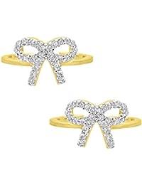 Silvernshine Women's D/VVS1 Diamond 14K Yellow Gold Fn .925 Sterling Silver Bow Adjustable Toe Ring Set