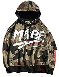 RONGLINGXING Capucha Otoño de los hombres nueva moda de gran tamaño de moda  de camuflaje con capucha pullover suéter de ocio… a570cd9ad5f