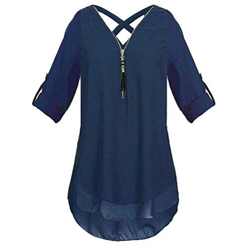 21bef1d6040f Damen Bluse Xiantime Damen V-Ausschnitt Reißverschluss Reine Farbe Chiffon  T-Shirts beiläufige lose Tops Tunika Bluse S-3XL