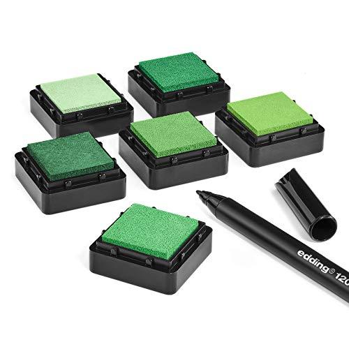 KATINGA Stempelkissen (6er Set) GRÜN mit Stift für Fingerabdrücke, zum Basteln und zum kreativen Gestalten (6er GRÜN)