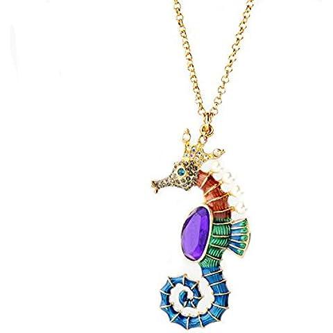 kaariag Punkin ™ perla y cristales de caballitos de mar forma color cerámica vidriada Cute Sweater Collar