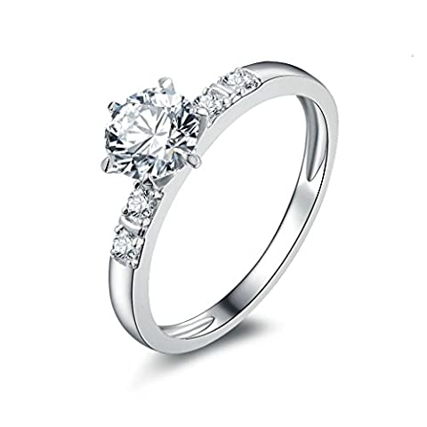 AMDXD Jewelry Sterling Silver Women Promise Customizable Rings CZ Inlaid Size S 1/2,Engraving