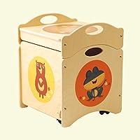Dida - Baúl de juguetes - LOS Troncotti - pouf contenedor en madera - cúbico base con 4 ruedas + tapa, decorado con ranas, cervatos y osos
