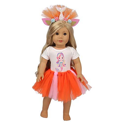 ZITA ELEMENT Fashion Handmade American 18 Zoll Mädchen Puppenkleider und Zubehör | 1 Tutu, 1 Onesies Shirt und 1 süßes Stirnband für 16
