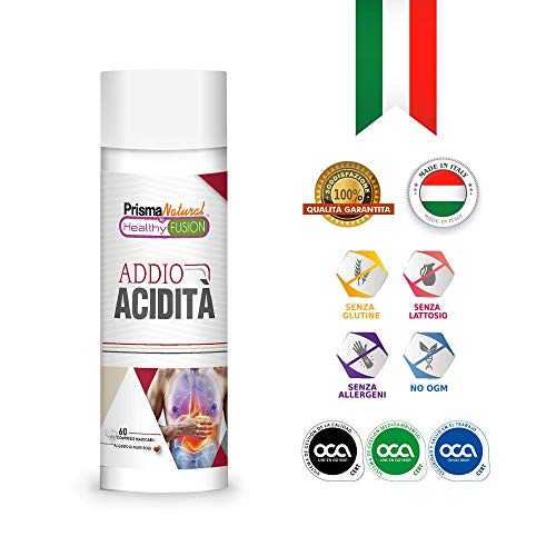 ADDIO ACIDITÀ | Potente antiacido e anti-reflusso | Inibisce l'acido gastrico e protegge lo stomaco | Migliora la salute dell'apparato digerente | 60 compresse masticabili al gusto di frutti rossi