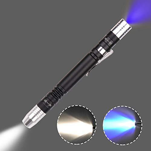 Taschenlampe mit Stiftlicht-Detektor, ultraviolett, für Test Mini-Stift, UV-Taschenlampe, 395 nm, 2 in 1 UV-Taschenlampe, LED-Taschenlampe, Schwarzlicht, 2 Lichtquellen, schwarz