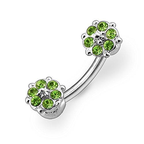 Bijou de corps Anneau de nombril en argent motif Petites fleurs en pierres Light Green