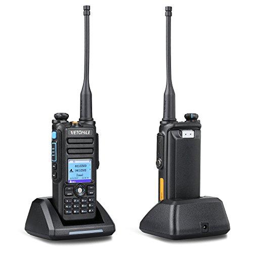 Vetomile Walkie Talkie Dual Band Digital / Analogique à Deux Voies VHF 136-174MHZ & UHF 400-480MHz 3000 Canaux IP67 Étanches avec GPS et Câble de Programmation