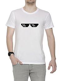 Matón Vida Acuerdo Con Eso Gafas Hombre Camiseta Cuello Redondo Blanco Algodón Manga Corta Men's T-Shirt White