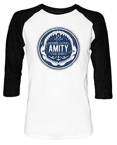 Amity Island Harbor Patrol - Jaws Herren Damen Unisex Baseball T-Shirt Weiß Schwarz 2/3 Ärmel Women's Men's Unisex Größe S Men's White T-Shirt Small Size S -