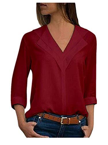 Chemisier Chic Femme Grande Taille Blouse de Bureau Manche Longue T-Shirt Top Hauts Tonsi (Vin, 48 EU/XXXXL)