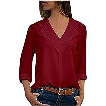 c9b12bbe92ccc Chemisier Chic Femme Grande Taille Blouse de Bureau Manche Longue T-Shirt  Top Hauts Tonsi