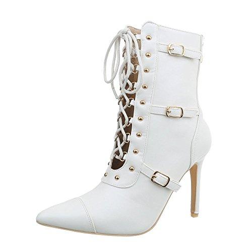 Ital-Design High Heel Stiefeletten Damen-Schuhe Pfennig-/Stilettoabsatz Heels Reißverschluss Weiß, Gr 37, Jr-046-