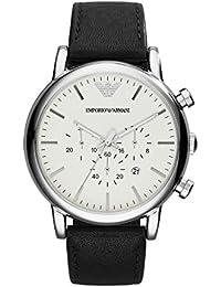 Emporio Armani AR1807 - Reloj de cuarzo para hombre, correa de cuero color negro
