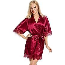 ZEARO Femme Robe de chambre Nuisette Satin Lingerie Dentelle Sexy Kimono Peignoir Cardigan Chemise de Nuit
