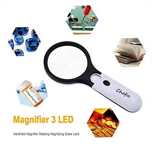 Leselupe 3X 45X Lupe mit 3 LED Licht, Handlupe Vergrößrungglas für Senioren, Schmuck Lupe Weiß und Schwarz - 7