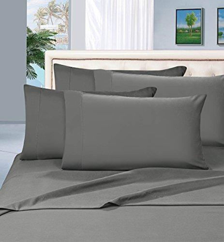 Elegance Linen Bettwäsche-Set 1500 Serie luxuriös, seidig weich, knitterfrei, 4 Stück, Tiefe Taschen bis 40,6 cm und Farben Standard Pillowcases grau -