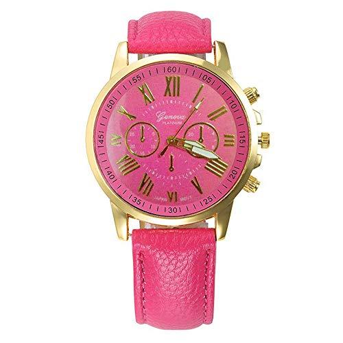 ( jieGREAT Räumungsverkauf  , Damenmode Genf römische Ziffern Kunstleder analoge Quarz-Armbanduhr HEISS)