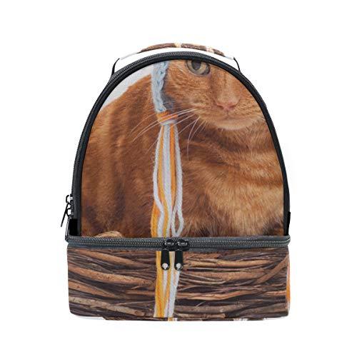 Streifen Katze Lustige Hut Tragbare Schule Schulter Tote Lunchpaket Handtasche Kinder Doppel Lunchbox Wiederverwendbare Isolierte Kühler Für Frauen Student Travel Outdoor