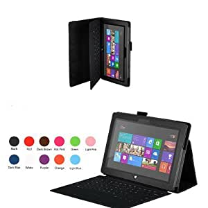 CaseGuru Premium Luxury Multi Function Standby Case/Cover/Folio for the Microsoft Surface RT 10.6 Inch Tablet Black and Free Stylus Pen