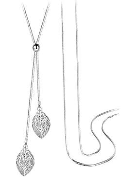 T400 Jewellers Eco-Alloy Double aushöhlen verlässt Zirkonia lange Kette Anhänger Halskette, weiß 37,80