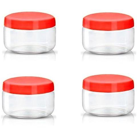 Sunpet–Barattoli, alimentare, Plastica, Rosso, 150ml, piccole, confezione da