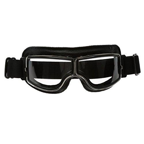Schwarz Rahmen Retro Motorrad Helm Brillen Schutzbrillen UV Schutz für Sport Outdoor Skifahren Snowboard - Clear Glas