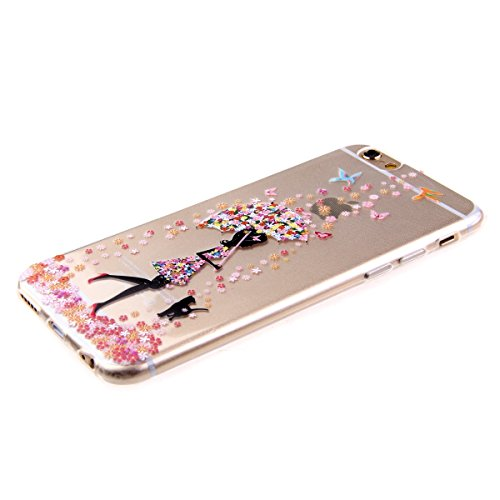 Etsue Custodia iPhone 6S Plus ,Transparente in Tpu Protettiva Cover Case,Colorato Pattern Disegni Per Ragazze,Ultra slim Fit Morbido Gel Cover Crystal Chiaro Ultra Resistente Gomma Gel Bumper Case Per Una ragazza con ombrello