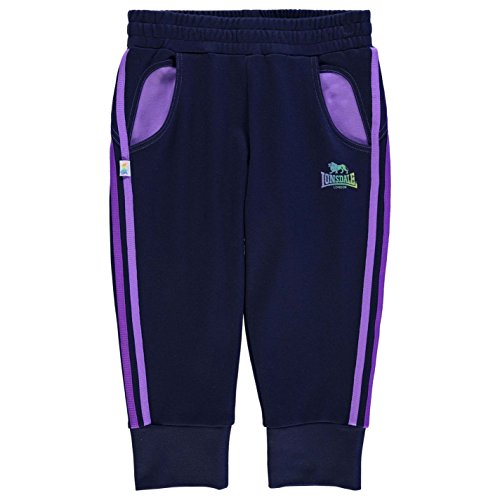 Lonsdale Kinder Mädchen 3/4 Länge Jogginghose Sporthose Trainingshose Hose Marineblau/Lila 9-10 (MG)