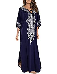 cfd16d7694 L-Peach Women's Floral Embroidery Kimono Long Dress Maxi Kaftan Summer  Beach Boho Cover up
