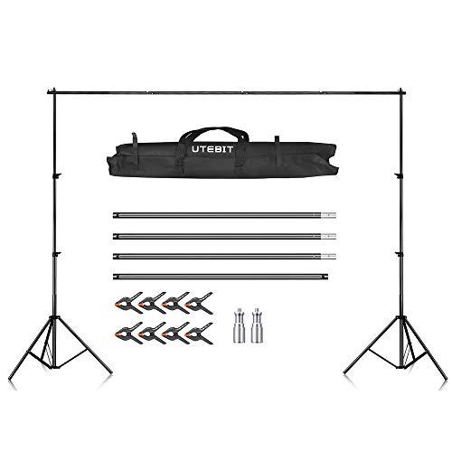 UTEBIT® 2,6M x 3M Backdrop Stand Hintergrund Ständer Fotostudio Hintergrundsystem (2 x Stative, 4 x Querstangen, 8 x Klemmen,1 x Tragetasche) für Muslins Hintergrund, Papier and Canvas
