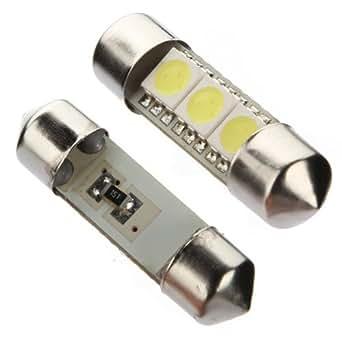 2x C5W 3 LED SMD 5050 34mm Plaque Xenon Blanc Ampoule navette Festons dome plafonnier voiture lumiere