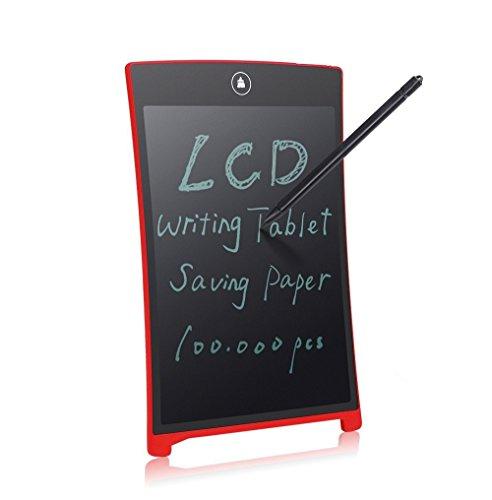 SinoPro 8,5 Pulgadas Tableta de Escritura LCD Almohadilla de Escritura Digital Tablero de Dibujo con La Batería Incorporada del Botón de La Aguja Como Regalo Para Niños, Diseñador, Maestro, Estudiante y Uso Comercial (Rojo)