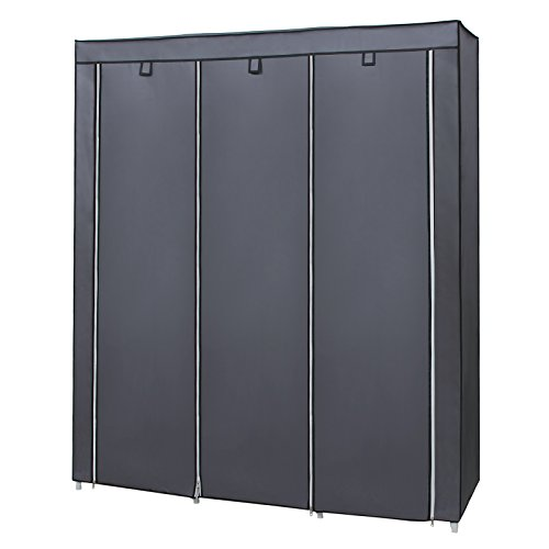4110b%2B4sCcL. SS500  - SONGMICS Canvas Wardrobe Bedroom Furniture Cupboard Clothes Storage Organiser Gray 175 x 150 x 45 cm RYG12G