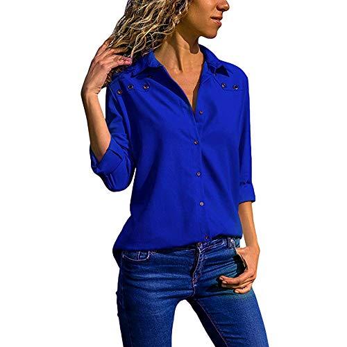 (Oliviavan,Frauen V-Ausschnitt Reine Farbe Knopf Lange Ärmel Plus Size Tops Lose Bluse Bluse Mode Damenmode Tops Shirt Damen Ärmel Chiffon Langarm Casual Pullover T-Shirts Mantel Geh zur Arbeit)