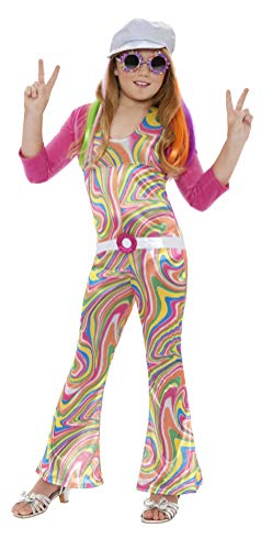 Smiffys Kinder Groovy Glam Kostüm, Jumpsuit, Gürtel, Jacke und Mütze, Größe: M, 33395 (Groovy Kind Kind Kostüme)