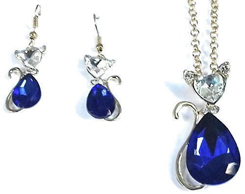 Glitz stylische Mode Blau Crystal Cat Jewely Set 0609 Crystal