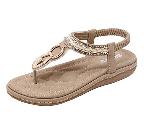 VJGOAL Damen Sandalen, Frauen Mädchen böhmischen Mode Flache beiläufige Sandalen Strand Sommer Flache Schuhe Frau Geschenk (40 EU, W-Khaki)