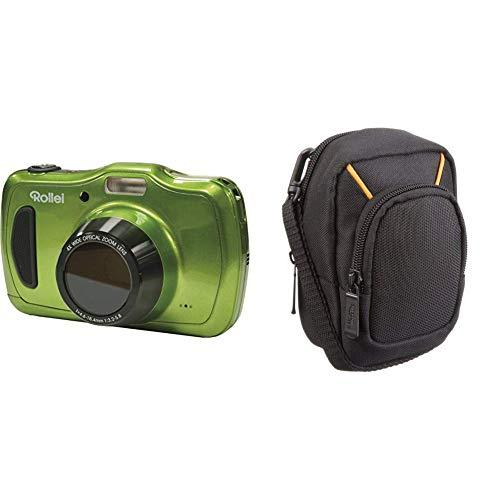 Rollei Sportsline 100 - vielseitige Digitalkamera mit 20 MP, spritzwasserfest und wasserdicht bis zu 10 Meter mit Foto-Zeitraffer-Funktion - Grün & AmazonBasics Kameratasche für Kompaktkameras Lcd 230k
