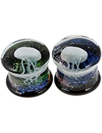 MagiDeal 1 Pair Fancy 3 D Jellyfish Pattern High Polished Glass Double Saddle Ear Stretchers Tunnel Plugs Piercing 8mm-16mm Gauge